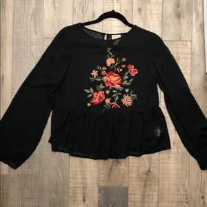 Peplum Embroidered Blouse